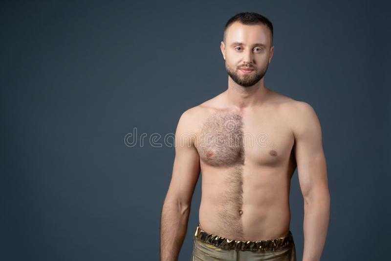 Very hairy chest young men